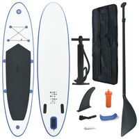 vidaXL Σετ Σανίδας Stand Up Paddle / Surf Φουσκωτό Μπλε και Λευκό