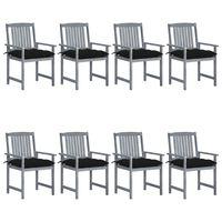 vidaXL Καρέκλες Κήπου 8 τεμ. Γκρι από Μασίφ Ξύλο Ακακίας με Μαξιλάρια