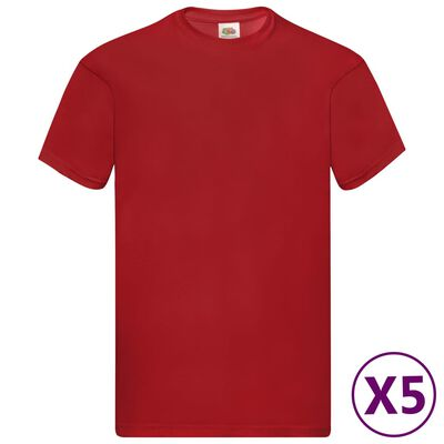 Fruit of the Loom T-shirt Original 5 τεμ. Κόκκινα L Βαμβακερά