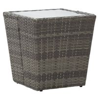 vidaXL Τραπέζι Βοηθητικό Γκρι 41,5x41,5x43 εκ. Συνθ.Ρατάν/Ψημένο Γυαλί