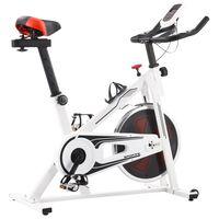 vidaXL Ποδήλατο Γυμναστικής Spin με Αισθητήρες Παλμών Κόκκινο/Λευκό