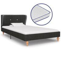 vidaXL Κρεβάτι Σκούρο Γκρι 90x200 εκ. Λινάτσα + Στρώμα Αφρού Μνήμης