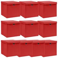 vidaXL Κουτιά Αποθήκευσης με Καπάκια 10 τεμ Κόκκινα 32x32x32 εκ Ύφασμα