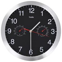 vidaXL Ρολόι Τοίχου Μαύρο 30 εκ. Quartz με Υγρόμετρο και Θερμόμετρο