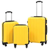 vidaXL Σετ Βαλιτσών Τρόλεϊ με Σκληρό Περίβλημα 3 τεμ. Κίτρινο από ABS