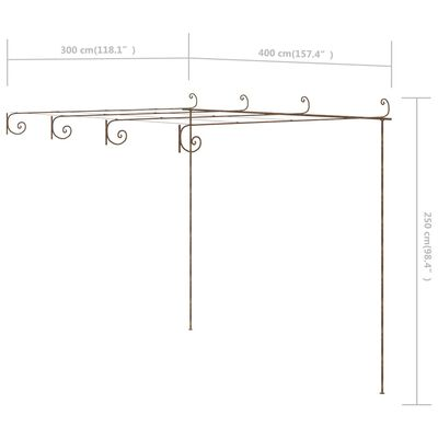 vidaXL Πέργκολα Τοίχου Αντικέ Καφέ 4 x 3 x 2,5 μ. Σιδερένια
