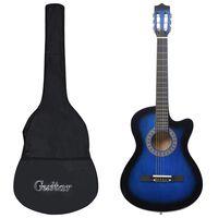vidaXL Ακουστική Κιθάρα Western με 6 Χορδές Σετ 12 Τεμαχίων Μπλε 38''