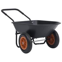 vidaXL Καρότσι Κήπου Μαύρο και Πορτοκαλί 78 L 100 kg