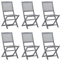 vidaXL Καρέκλες Κήπου Πτυσσόμενες 6 τεμ. από Μασίφ Ξύλο Ακακίας