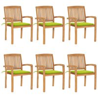 vidaXL Καρέκλες Κήπου Στοιβαζόμενες 6 τεμ. Μασίφ Ξύλο Teak & Μαξιλάρια
