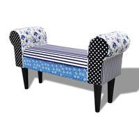 Παγκάκι Patchwork Εξοχικό Στυλ Μπλε & Λευκό
