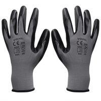vidaXL Γάντια Εργασίας Νιτριλίου 24 Ζεύγη Γκρι/Μαύρο Μέγεθος 10/XL
