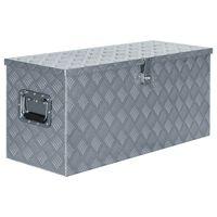 vidaXL Κουτί Αποθήκευσης Ασημί 90,5 x 35 x 40 εκ. Αλουμινίου