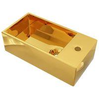 vidaXL Νιπτήρας με Οπή Υπερχείλισης Χρυσός 49x25x15 εκ. Κεραμικός