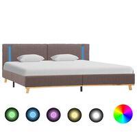 vidaXL Πλαίσιο Κρεβατιού με LED Χρώμα Taupe 160 x 200 εκ. Υφασμάτινο