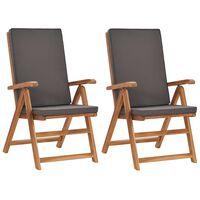 vidaXL Καρέκλες Κήπου Ανακλινόμενες 2 τεμ. Γκρι Ξύλο Teak με Μαξιλάρια