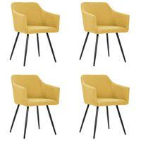vidaXL Καρέκλες Τραπεζαρίας 4 τεμ. Κίτρινες Υφασμάτινες