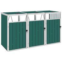 vidaXL Πλαίσιο Τριπλό για Κάδους Πράσινο 213 x 81 x 121 εκ. Ατσάλινο