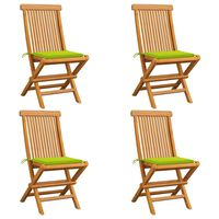 vidaXL Καρέκλες Κήπου 4 τεμ. Μασίφ Ξύλο Teak Φωτεινά Πράσινα Μαξιλάρια