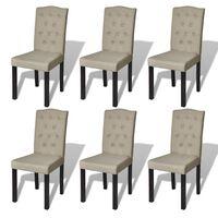 vidaXL Καρέκλες Τραπεζαρίας 6 τεμ. Καμηλό Υφασμάτινες
