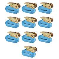 vidaXL Ιμάντες Πρόσδεσης με Καστάνια 10 τεμ Μπλε 0,8 Τόνων 4 μ.x25 χιλ