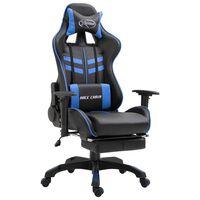 vidaXL Καρέκλα Gaming με Υποπόδιο Μπλε από Συνθετικό Δέρμα