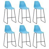 vidaXL Καρέκλες Μπαρ 6 τεμ. Μπλε Πλαστικές