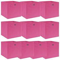 vidaXL Κουτιά Αποθήκευσης 10 τεμ. Ροζ 32 x 32 x 32 εκ. από Ύφασμα