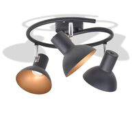 vidaXL Φωτιστικό Οροφής Ράγα για 3 Λαμπτήρες E27 Μαύρο / Χρυσαφί