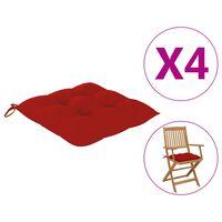 vidaXL Μαξιλάρια Καρέκλας 4 τεμ. Κόκκινα 40 x 40 x 7 εκ.