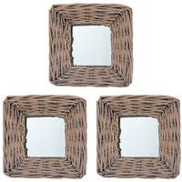 vidaXL Καθρέφτες 3 τεμ. 15 x 15 εκ. από Wicker
