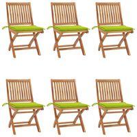vidaXL Καρέκλες Κήπου Πτυσσόμενες 6 τεμ. Μασίφ Ξύλο Teak με Μαξιλάρια