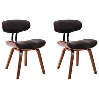 vidaXL Καρέκλες Τραπεζαρίας 2 τεμ. Γκρι από Λυγισμένο Ξύλο / Ύφασμα
