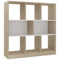 vidaXL Βιβλιοθήκη Λευκή/Sonoma Δρυς 97,5x29,5x100 εκ. από Μοριοσανίδα