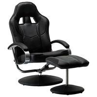 vidaXL Καρέκλα Gaming Ανακλινόμενη Μαύρη Συνθετικό Δέρμα με Υποπόδιο