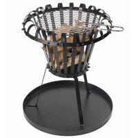 Perel Τζάκι Εξωτερ. Χώρου/BBQ Στρογγυλό Μαύρο με Δοχείο Στάχτης BB650