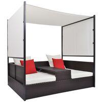 vidaXL Ξαπλώστρα - Κρεβάτι Καφέ 190x130 εκ. Συνθετ. Ρατάν με Σκίαστρο
