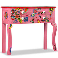 vidaXL Κονσόλα Τραπέζι με Χειροπ. Λεπτομέρειες Ροζ Μασίφ Ξύλο Μάνγκο