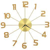 vidaXL Ρολόι Τοίχου Χρυσό 50 εκ. Μεταλλικό